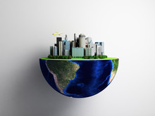 Urbanization Concept With Globe And City On Abstract Green Background 3D Rendering