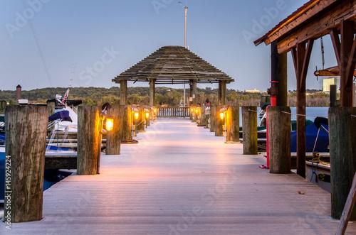 Deserted Pier on the Potomac River at Dusk. Alexandria, VA. Wallpaper Mural