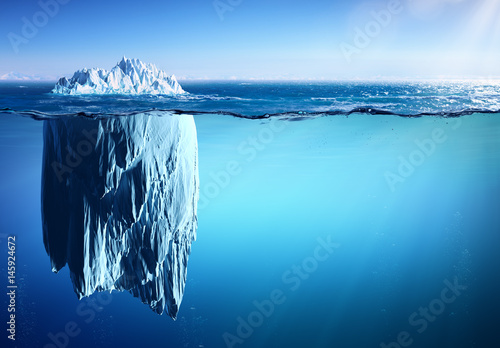 Poster Pool Iceberg Floating On Sea - Appearance And Global Warming Concept