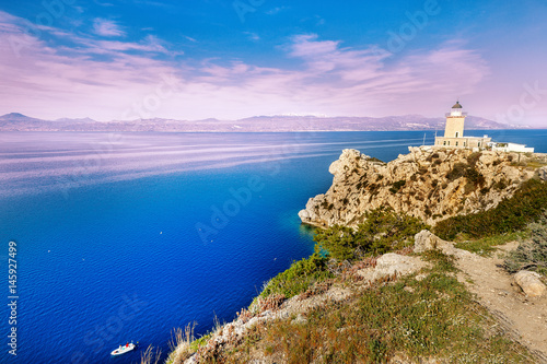 Foto auf AluDibond Leuchtturm Lighthouse Melagavi, Corinth harbor, Greece, Europe. Sunrise scenery.