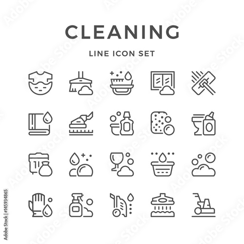 Set line icons of cleaning Wall mural