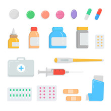 Set Of Different Pills And Drugs. First-aid Kit Contents Medication, Drops, Tablet, Syringe, Thermometer, Plaster, Inhaler, Capsule, Vial, Medicine Bottle Collection. Vector Flat Illustration.
