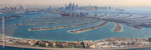 Fototapeta Dubaj The Palm Jumeirah Palm Tree Island Panorama Marina Widok z lotu ptaka