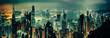 Panoramic shot of evening hong kong