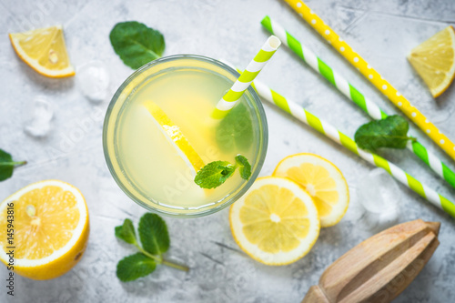Photo  Lemonade. Traditional Summer drink.Top view.