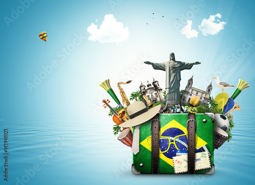 Deurstickers Brazilië Brazil, Brazil landmarks, travel and retro suitcase