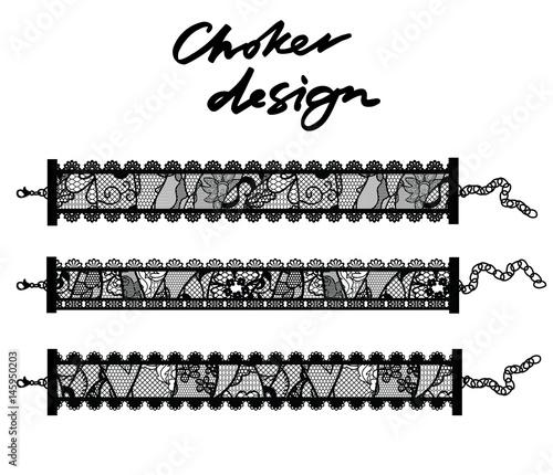 Fotografía Choker design. Collection of chokers.