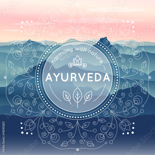 Photo Vector Ayurveda illustration with morning mountain landscape, ethnic patterns and sample text for use as a template of banner, backdrop or poster for ayurveda medicine center or product