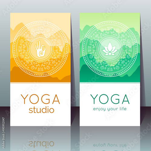 Vector Yoga Cards With Mudra Lotus Mountain Landscape Ethnic
