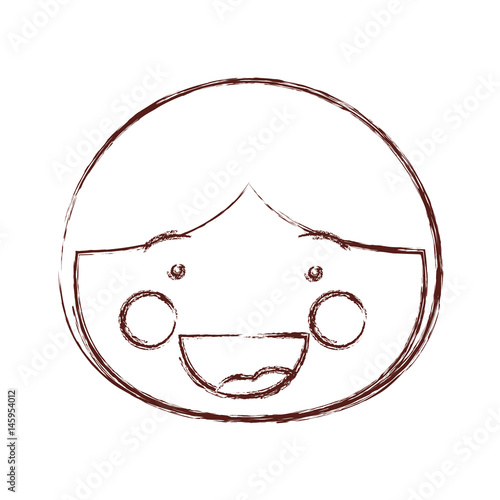Blurred Contour Shading Smile Expression Cartoon Front Face Boy