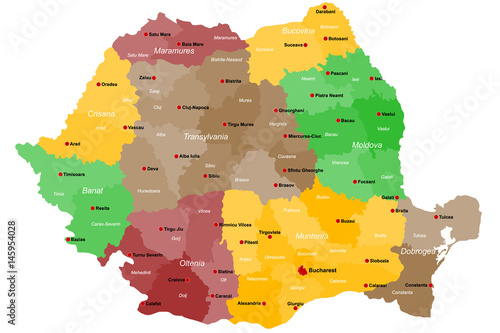 Large and detailed map of Romania with regions and main cities Canvas Print