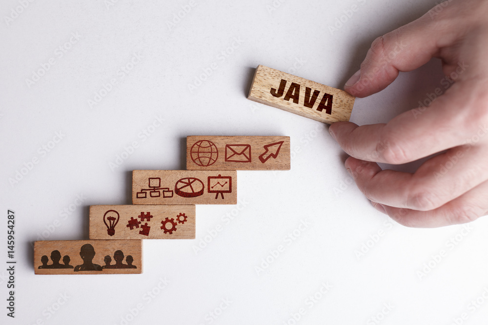 Fototapety, obrazy: The concept of technology, the Internet and the network. Businessman shows a working model of business: Java