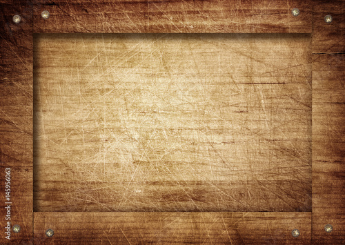 Tuinposter Hout Side of brown wooden crate, box, wall or frame with screws