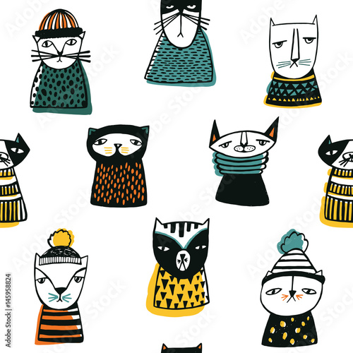 Cotton fabric Seamless pattern with funny cartoon cats muzzles. Hand drawn doodle kitty on white background.