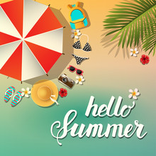 Vector Summer Poster With Parasol, Backpack, Swimsuit, Sunglasses, Flip Flops, Hat, Camera, Palm Leaves And Tropical Flowers On The Beach. Hello Summer