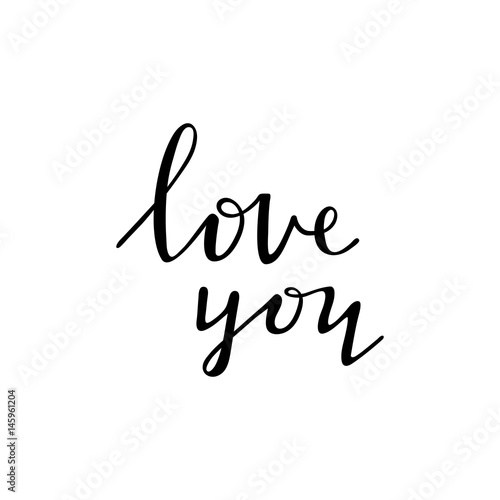 Love you - black ink handwritten lettering design isolated, photo