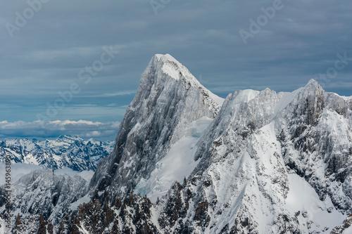 Grands Jorasses mountain summit covered by snow ice in winter Tapéta, Fotótapéta