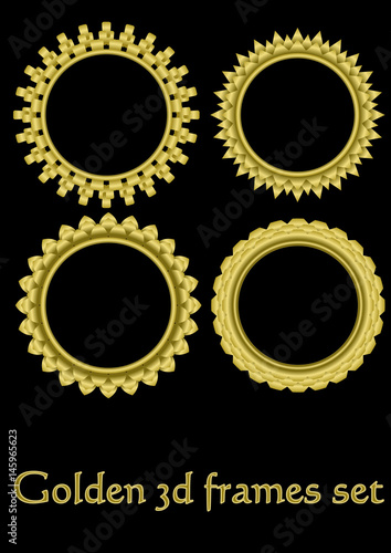 1e788dde264 Circle golden frame set with 3d effect