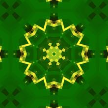 Mosaic, Gold On Green, Symmetric Figure, Magic Flower