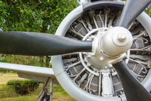 Rotor Of A Piston Engined Military Trainer Light Attack Aircraft Since Vietnam War. This Aircraft Used By United States Air Force And United States Navy Beginning In The 1950s. Some Use As Aerobatics.
