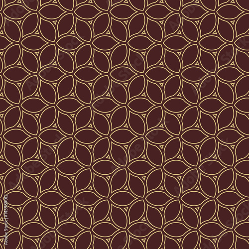 Fototapety, obrazy: Seamless brown and golden ornament. Modern geometric pattern with repeating elements