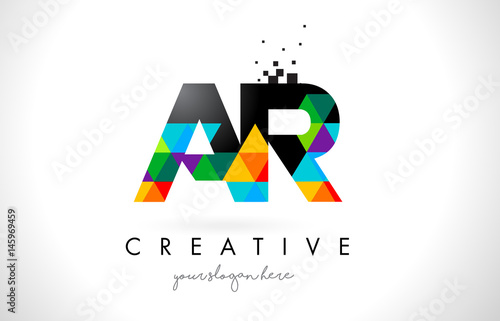 Photo AR A R Letter Logo with Colorful Triangles Texture Design Vector.
