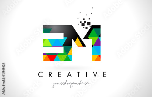 Photo  EM E M Letter Logo with Colorful Triangles Texture Design Vector.