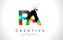 PA P A Letter Logo With Colorful Triangles Texture Design Vector.