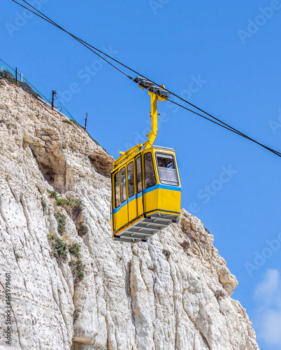 Cableway with yellow cabin in the Rosh Hanikra - Israel Canvas Print