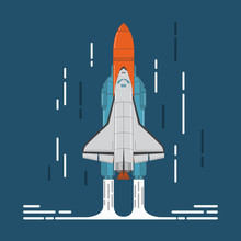 Space Shuttle And Rocket In F...