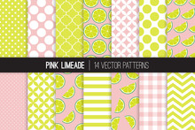 Pink Limeade Vector Patterns. Green And Pink Lime Halves And Slices, Stripes, Polka Dots And Gingham. Lemonade Stand Summer Party Decor. Girly Mod Geometric Backgrounds. Pattern Tile Swatches Included