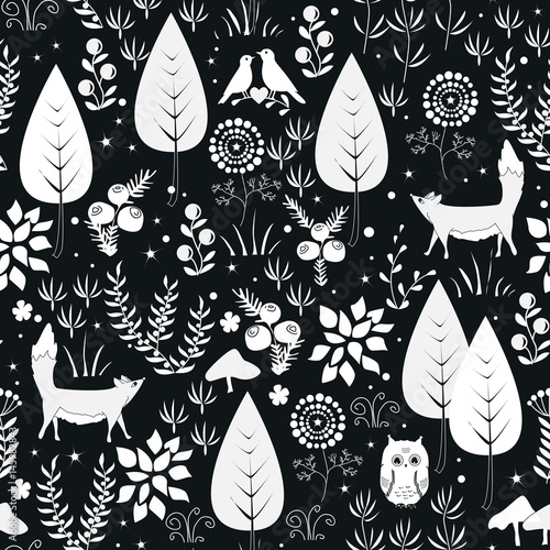 Cotton fabric Cute vector seamless pattern with forest plants, birds, and foxes silhouettes. White and black background