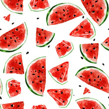 Juicy Watermelon. Watercolor Seamless Pattern.