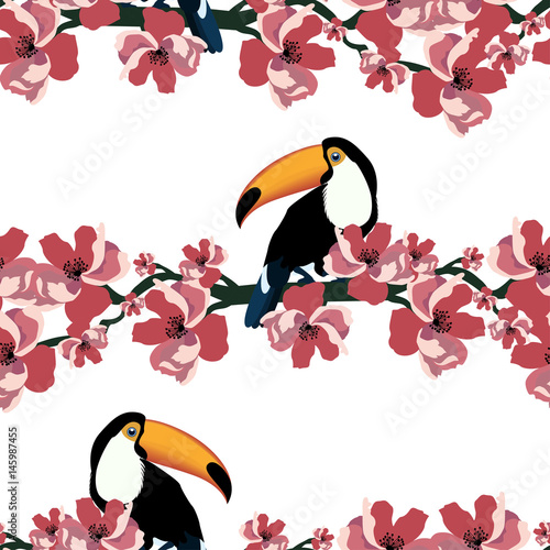 Tapeta ścienna na wymiar Tropical seamless pattern with colorful toucan and flower.Vector summer background.Textile texture