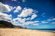 Wide angle view of Yokohama Beach on the west side of Oahu, Hawaii