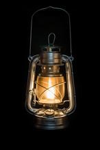 Oil Lamp Shining In The Dark