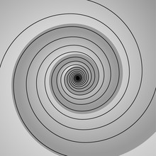 Grey Spiral Swirl  With Shadow Circle Vector Illustration
