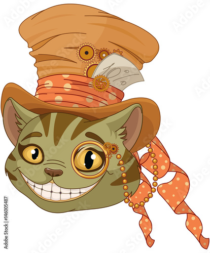 Stickers pour porte Magie Steampunk Cheshire cat in Top Hat