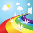 Rainbow road in dream and white bird