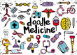 Health care and medicine doodle background. Vector illustration