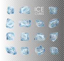 Ice Cubes, Realistic Set, 3d Vector Illustration. Blue Ice Collection, Isolated, Refresh, White, Background.