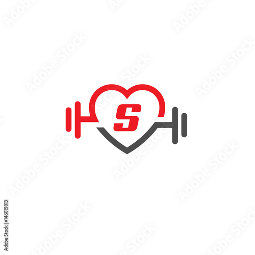 Love Fit With Letter S Logo Vector Letter S Heart Sign And Dumbbell