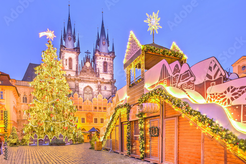 Acrylic Prints Prague Christmas tree and fairy tale Church of our Lady Tyn in Prague, Czech Republic.