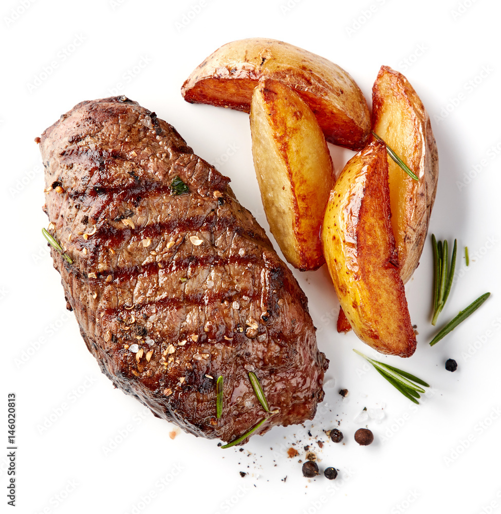 Fototapety, obrazy: grilled beef steak and potatoes