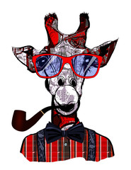 Obraz Giraffe with sunglasses in hipster style