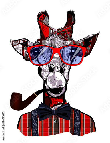 Tuinposter Art Studio Giraffe with sunglasses in hipster style