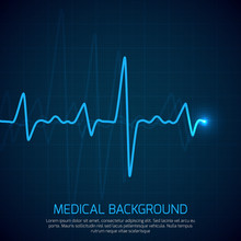 Healthcare Vector Medical Background With Heart Cardiogram. Cardiology Concept With Pulse Rate Diagram
