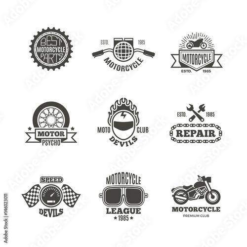 Photo sur Toile Papillons dans Grunge Race, motorcycle, motorbike repair vector retro labels, logo, badges and emblems