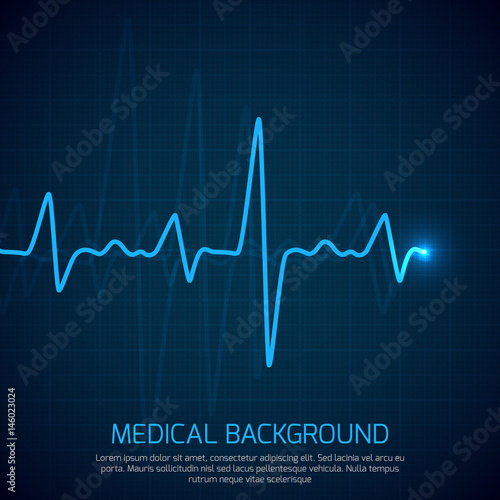 Valokuva  Healthcare vector medical background with heart cardiogram