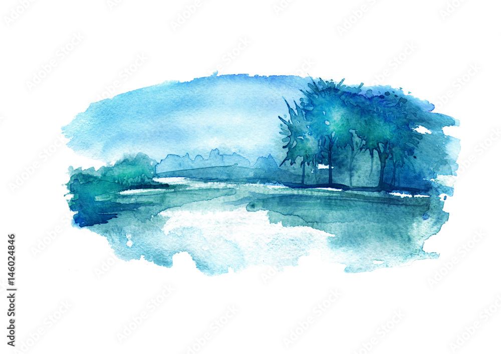 Fototapety, obrazy: Watercolor night landscape, nature, forest on the river bank, lakes. In the picture, water, sky, trees, reflection in the river. Beautiful vintage postcard, poster, image. Summer, spring landscape